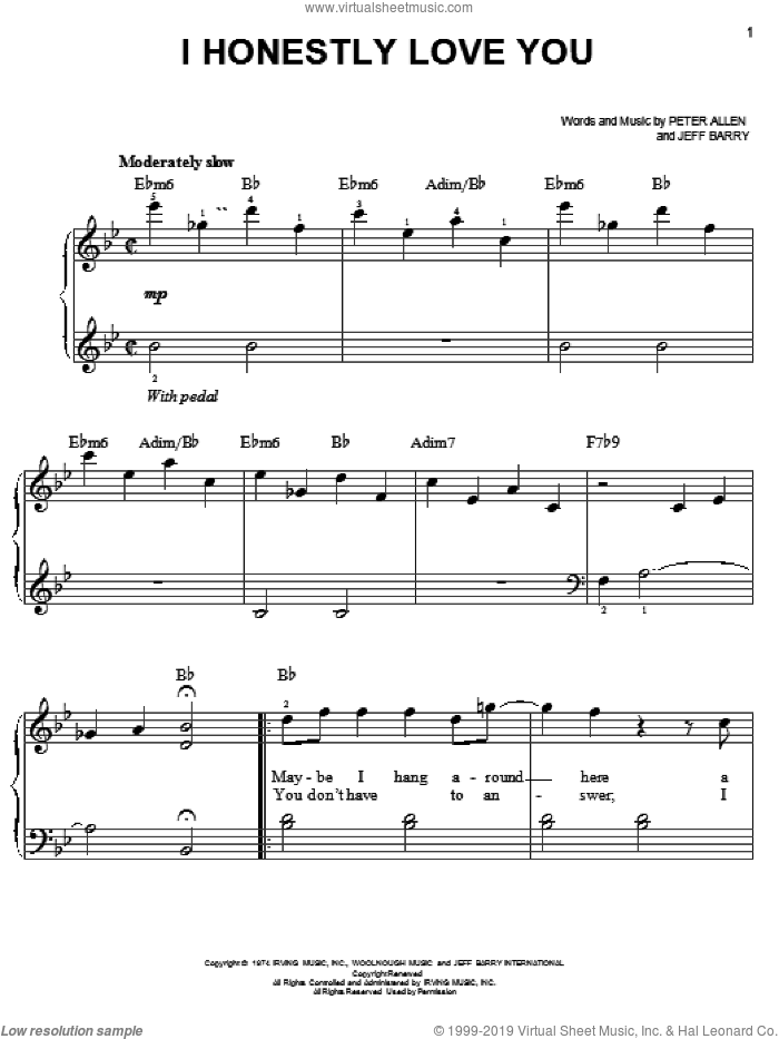 I Honestly Love You, (easy) sheet music for piano solo by Olivia Newton-John, The Boy From Oz (Musical), Jeff Barry and Peter Allen, wedding score, easy skill level