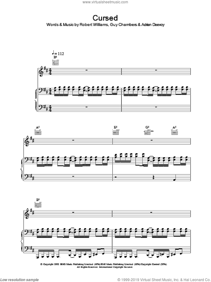 Cursed sheet music for voice, piano or guitar by Robbie Williams. Score Image Preview.