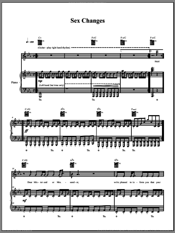 Sex Changes sheet music for voice, piano or guitar by The Dresden Dolls