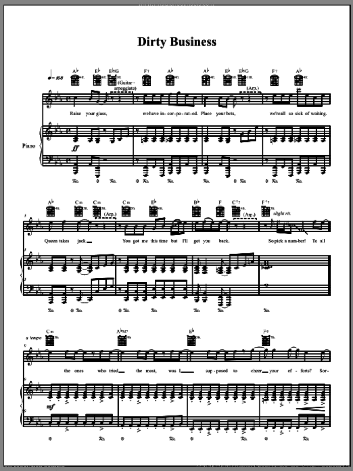 Dirty Business sheet music for voice, piano or guitar by The Dresden Dolls and Amanda Palmer, intermediate