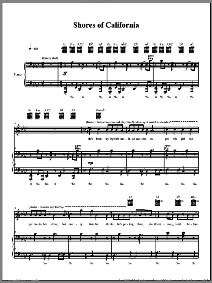 Shores Of California sheet music for voice, piano or guitar by The Dresden Dolls and Amanda Palmer, intermediate voice, piano or guitar. Score Image Preview.