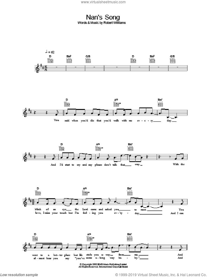 Nan's Song sheet music for voice and other instruments (fake book) by Robbie Williams, intermediate voice. Score Image Preview.