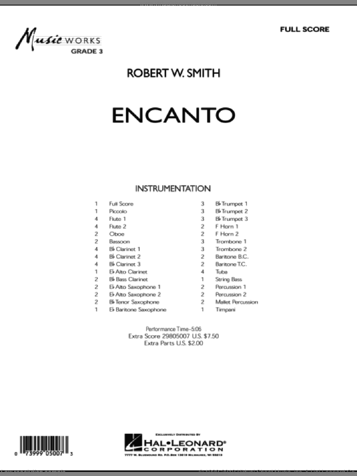 Encanto sheet music for concert band (full score) by Robert W. Smith