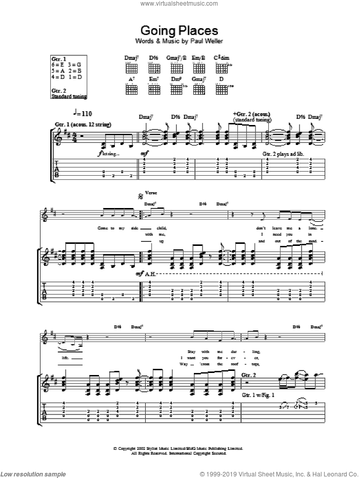 Going Places sheet music for guitar (tablature) by Paul Weller. Score Image Preview.