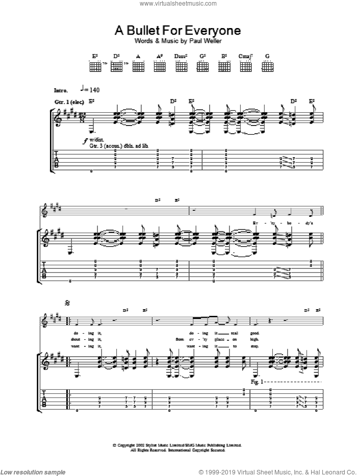 A Bullet For Everyone sheet music for guitar (tablature) by Paul Weller, intermediate. Score Image Preview.