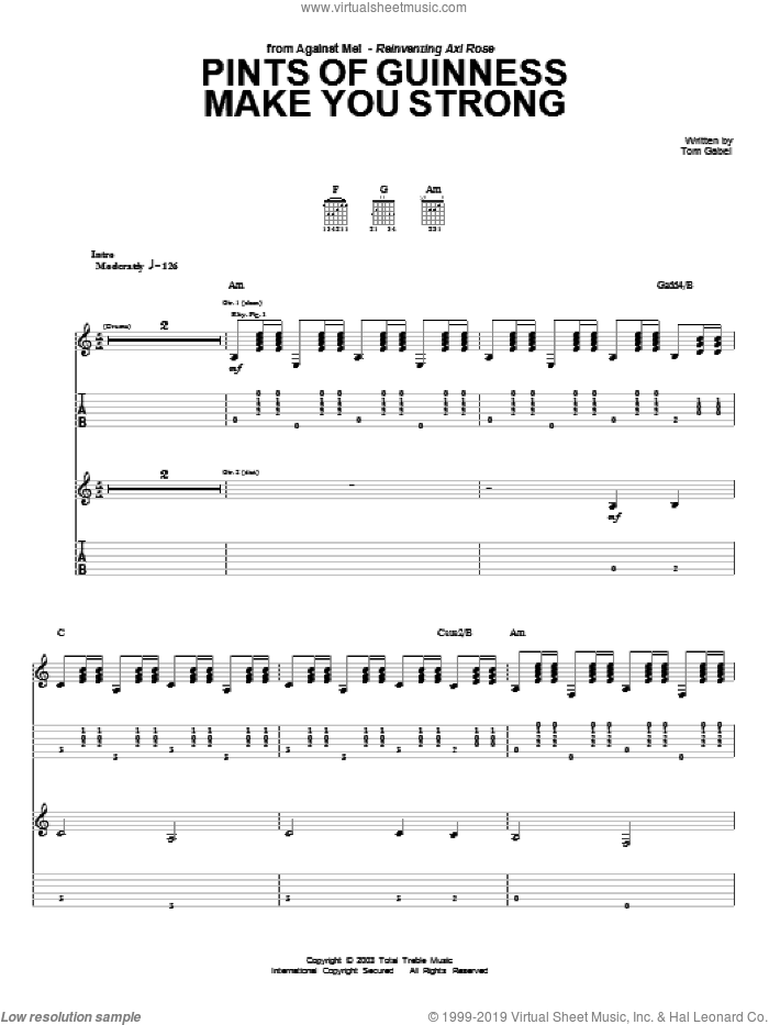Pints Of Guinness Makes You Strong sheet music for guitar (tablature) by Against Me!. Score Image Preview.