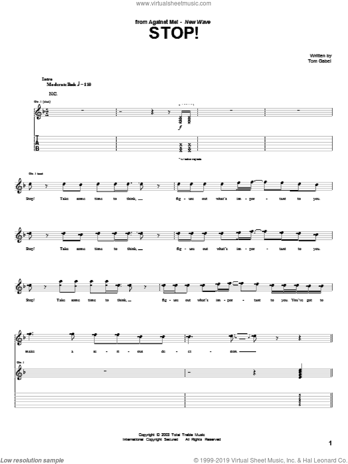 Stop! sheet music for guitar (tablature) by Tom Gabel. Score Image Preview.