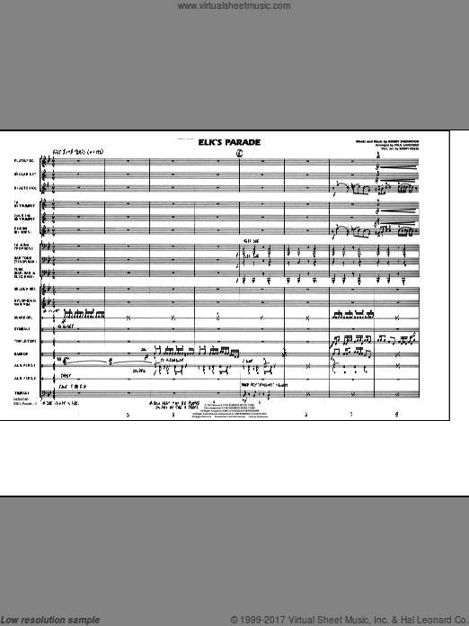 Elk's Parade (COMPLETE) sheet music for marching band by Bobby Sherwood