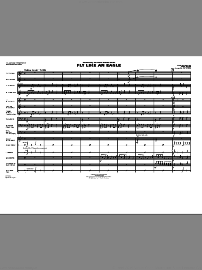 Fly Like An Eagle (COMPLETE) sheet music for marching band by Tim Waters, Steve Miller and Steve Miller Band, intermediate skill level