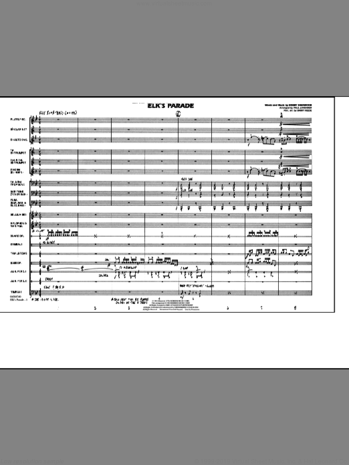 Elk's Parade (COMPLETE) sheet music for marching band by Paul Lavender, Bobby Sherwood and Barry Reese, intermediate skill level