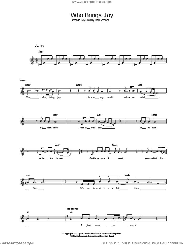 Who Brings Joy sheet music for voice and other instruments (fake book) by Paul Weller, intermediate voice. Score Image Preview.