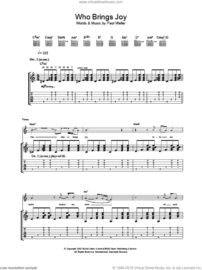 Who Brings Joy sheet music for guitar (tablature) by Paul Weller, intermediate guitar (tablature). Score Image Preview.