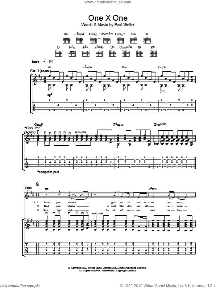 One X One sheet music for guitar (tablature) by Paul Weller, intermediate. Score Image Preview.