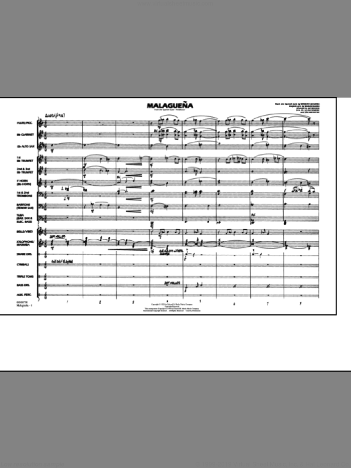 Malaguena (COMPLETE) sheet music for marching band by Ernesto Lecuona, Jay Bocook, Jim Hembree and Tod Kerstetter, classical score, intermediate skill level