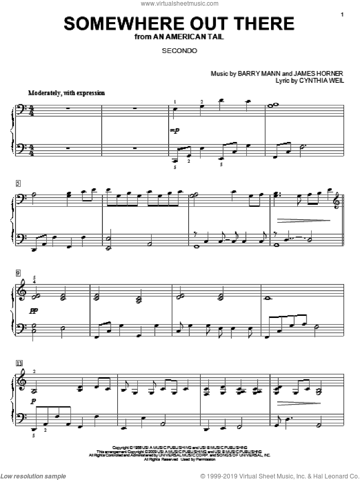Somewhere Out There sheet music for piano four hands by James Horner, Barry Mann and Cynthia Weil, wedding score, intermediate skill level