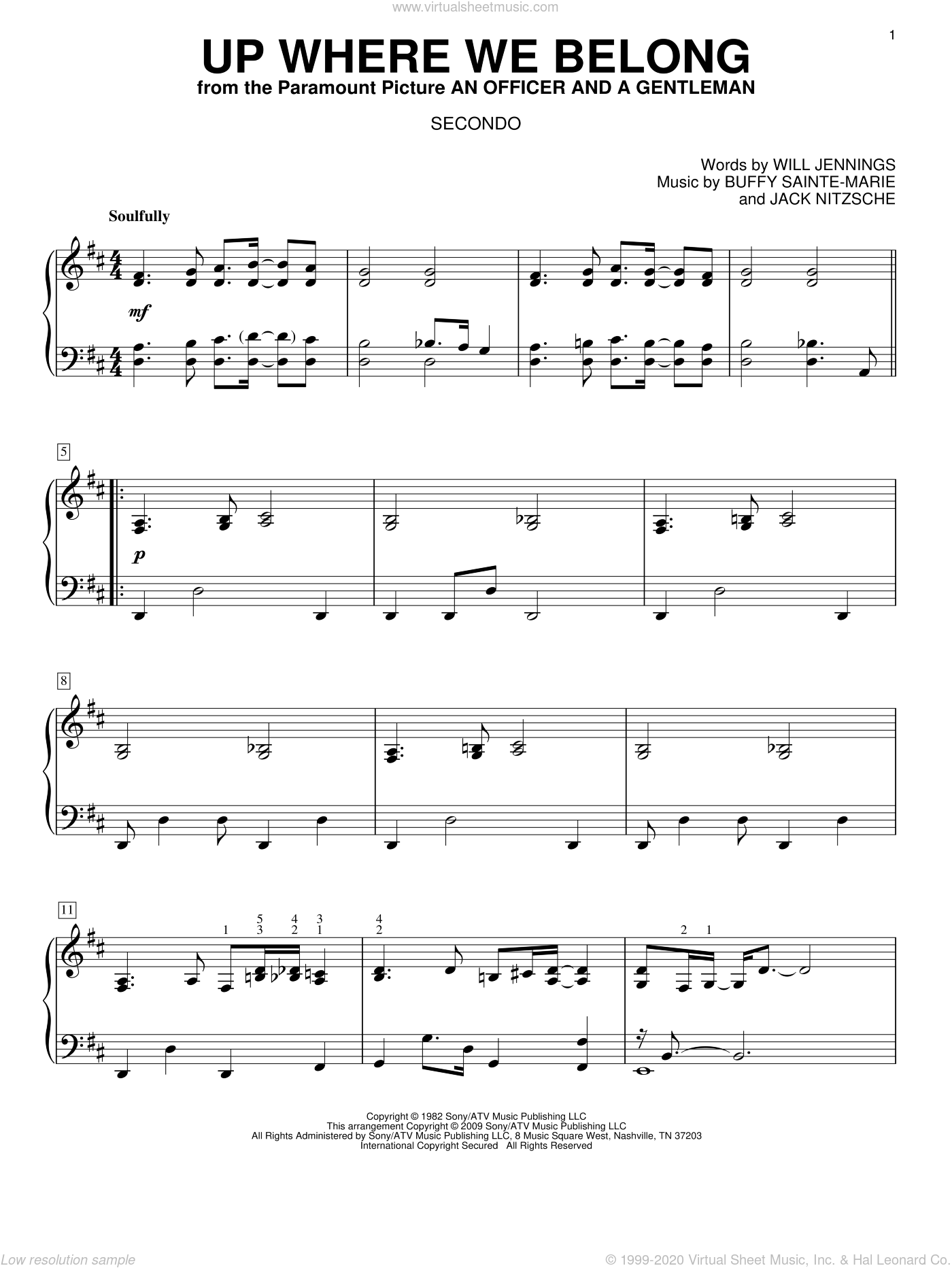 Up Where We Belong sheet music for piano four hands by Joe Cocker, Buffy Sainte-Marie, Jack Nitzche and Will Jennings, wedding score, intermediate skill level