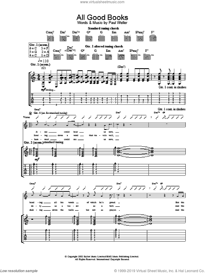 All Good Books sheet music for guitar (tablature) by Paul Weller. Score Image Preview.
