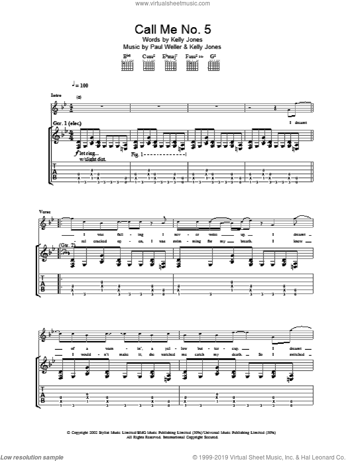 Call Me No. 5 sheet music for guitar (tablature) by Paul Weller. Score Image Preview.