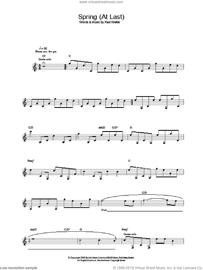 Spring (At Last) sheet music for voice and other instruments (fake book) by Paul Weller, intermediate skill level