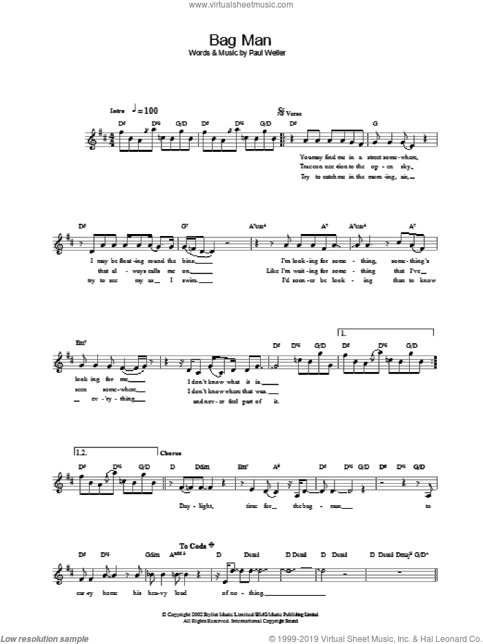 Bag Man sheet music for voice and other instruments (fake book) by Paul Weller. Score Image Preview.