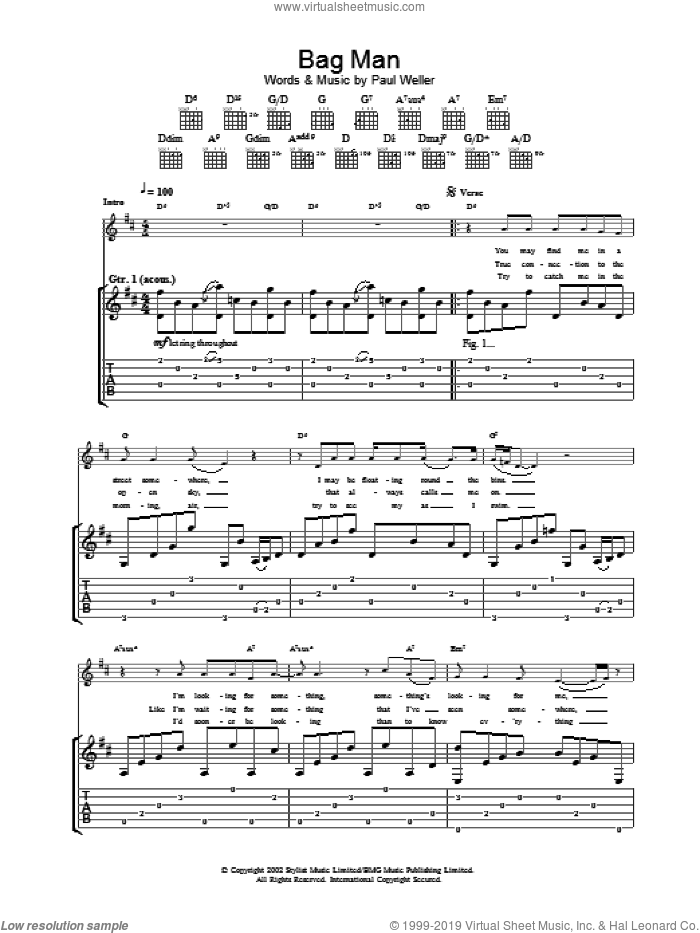Bag Man sheet music for guitar (tablature) by Paul Weller. Score Image Preview.