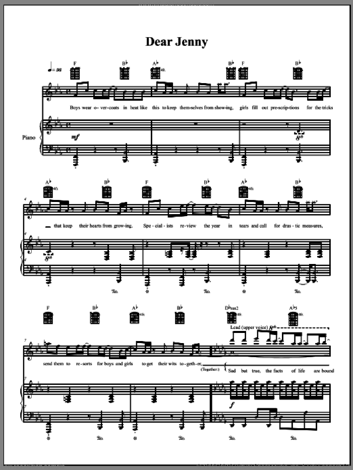 Dear Jenny sheet music for voice, piano or guitar by The Dresden Dolls and Amanda Palmer, intermediate voice, piano or guitar. Score Image Preview.