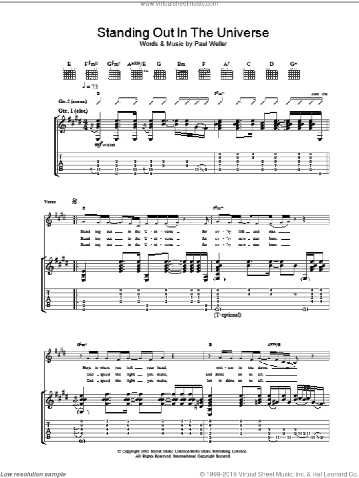 Standing Out In The Universe sheet music for guitar (tablature) by Paul Weller. Score Image Preview.