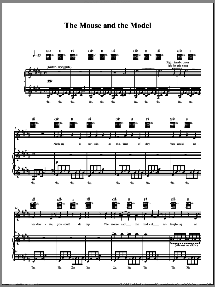 The Mouse And The Model sheet music for voice, piano or guitar by The Dresden Dolls and Amanda Palmer, intermediate voice, piano or guitar. Score Image Preview.