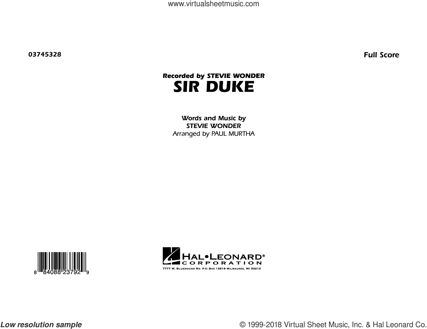 Sir Duke (COMPLETE) sheet music for marching band by Stevie Wonder and Paul Murtha, intermediate skill level