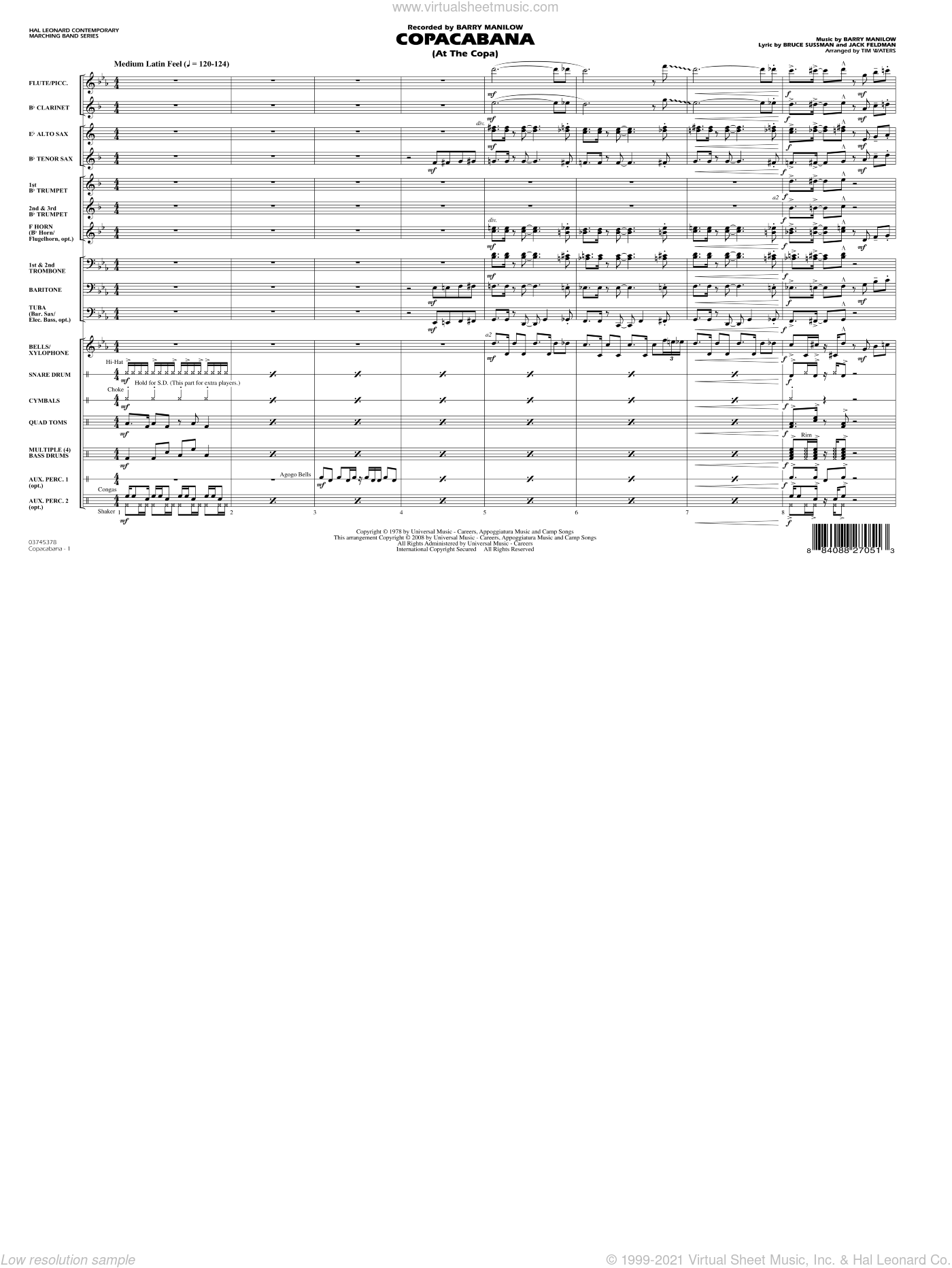 Copacabana (At the Copa) sheet music for marching band (full score) by Bruce Sussman