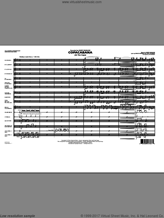 Copacabana (At the Copa) (COMPLETE) sheet music for marching band by Bruce Sussman
