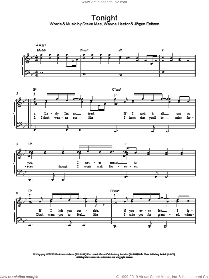 Tonight sheet music for piano solo by Westlife. Score Image Preview.