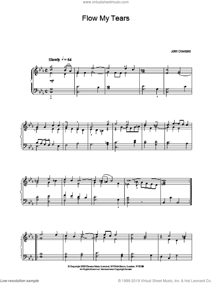 Flow My Tears sheet music for piano solo by John Dowland, intermediate. Score Image Preview.
