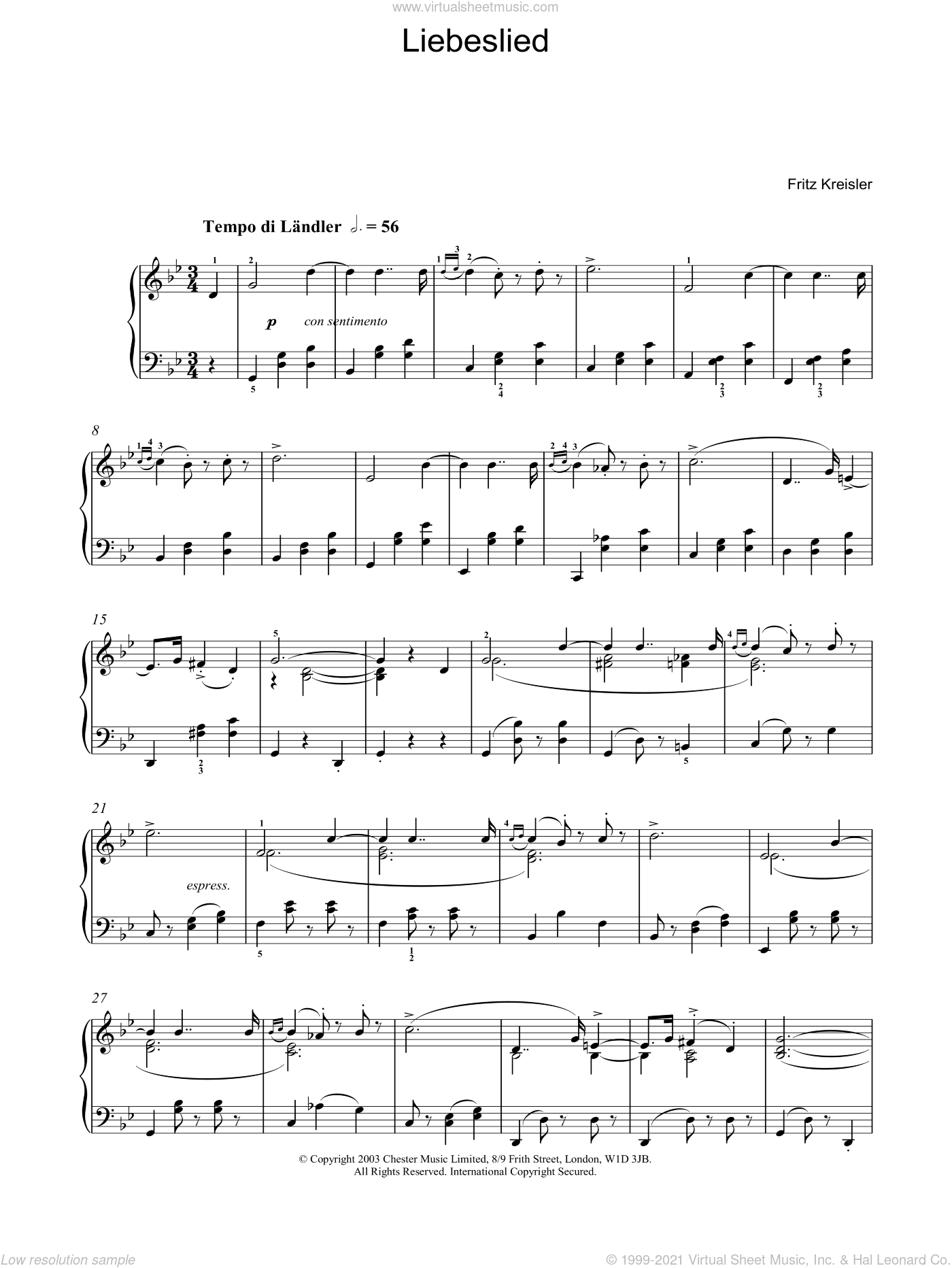 Liebeslied sheet music for piano solo by Fritz Kreisler, classical score, intermediate skill level
