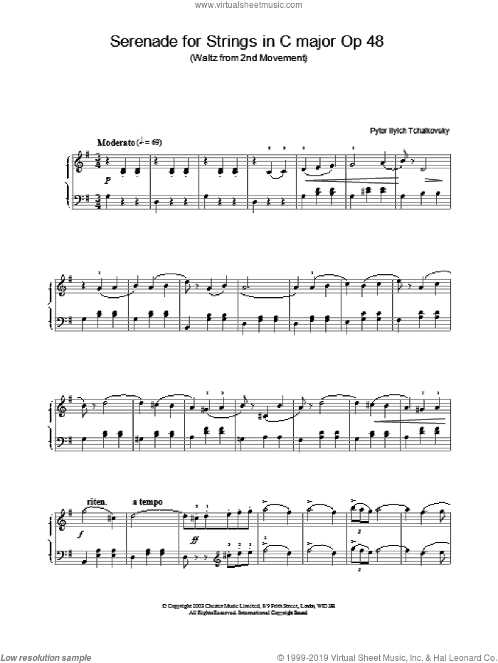 Serenade for Strings in C major Op 48 sheet music for piano solo by Pyotr Ilyich Tchaikovsky, classical score, intermediate. Score Image Preview.