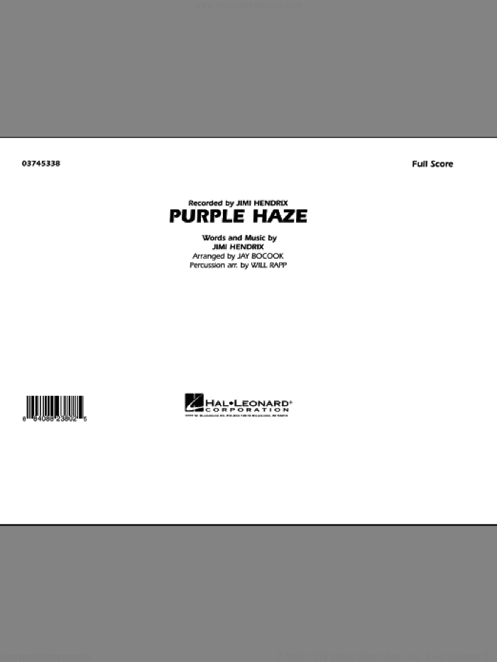 Purple Haze (COMPLETE) sheet music for marching band by Jimi Hendrix, Jay Bocook and Will Rapp, intermediate skill level