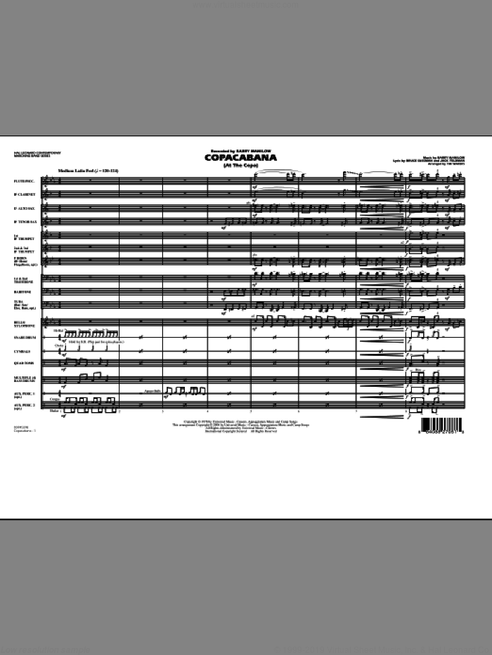 Copacabana (At the Copa) (COMPLETE) sheet music for marching band by Barry Manilow, Jack Feldman and Tim Waters, intermediate. Score Image Preview.
