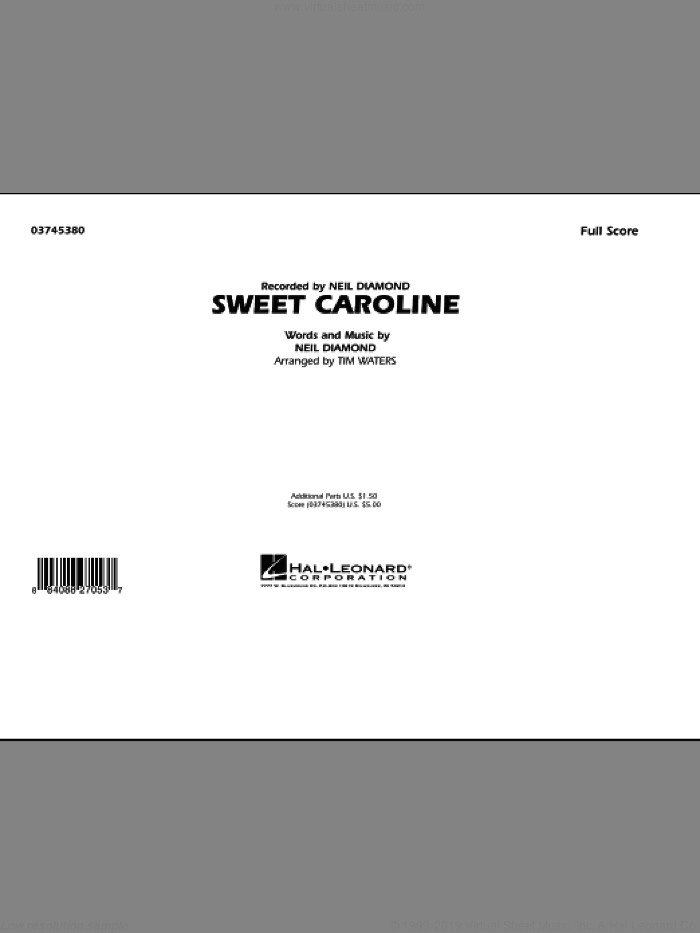 Sweet Caroline (COMPLETE) sheet music for marching band by Neil Diamond and Tim Waters, intermediate skill level