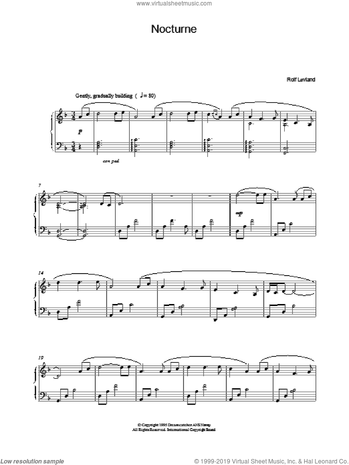 Nocturne sheet music for piano solo by Rolf Lovland, Rolf Løvland and Hector Villa Lobos, classical score, intermediate skill level