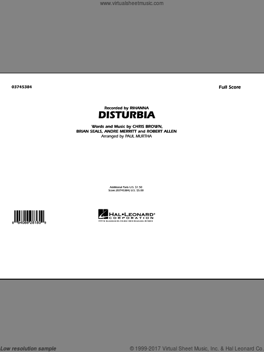 Disturbia (COMPLETE) sheet music for marching band by Paul Murtha and Rihanna, intermediate. Score Image Preview.