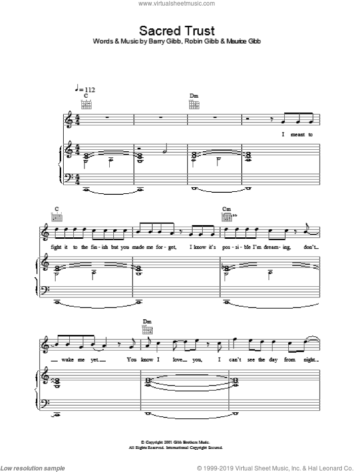 Sacred Trust sheet music for voice, piano or guitar by One True Voice. Score Image Preview.