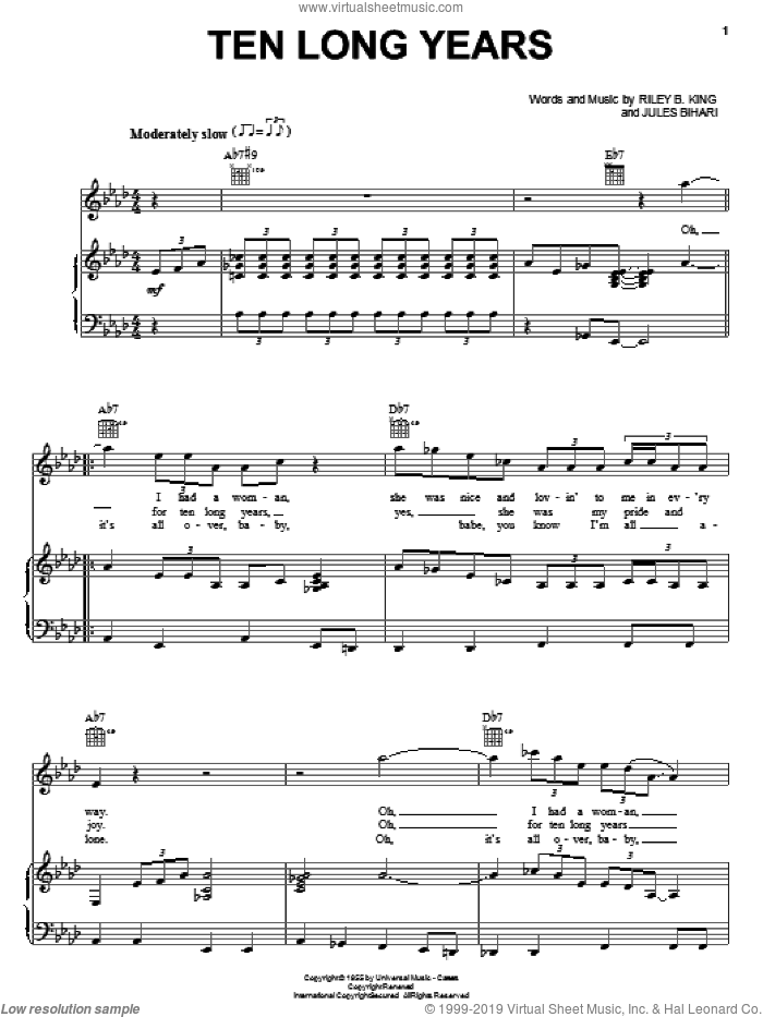 Ten Long Years sheet music for voice, piano or guitar by Riley B. King, B.B. King and Jules Bihari. Score Image Preview.