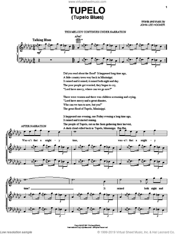 Tupelo (Tupelo Blues) sheet music for voice, piano or guitar by John Lee Hooker, intermediate skill level