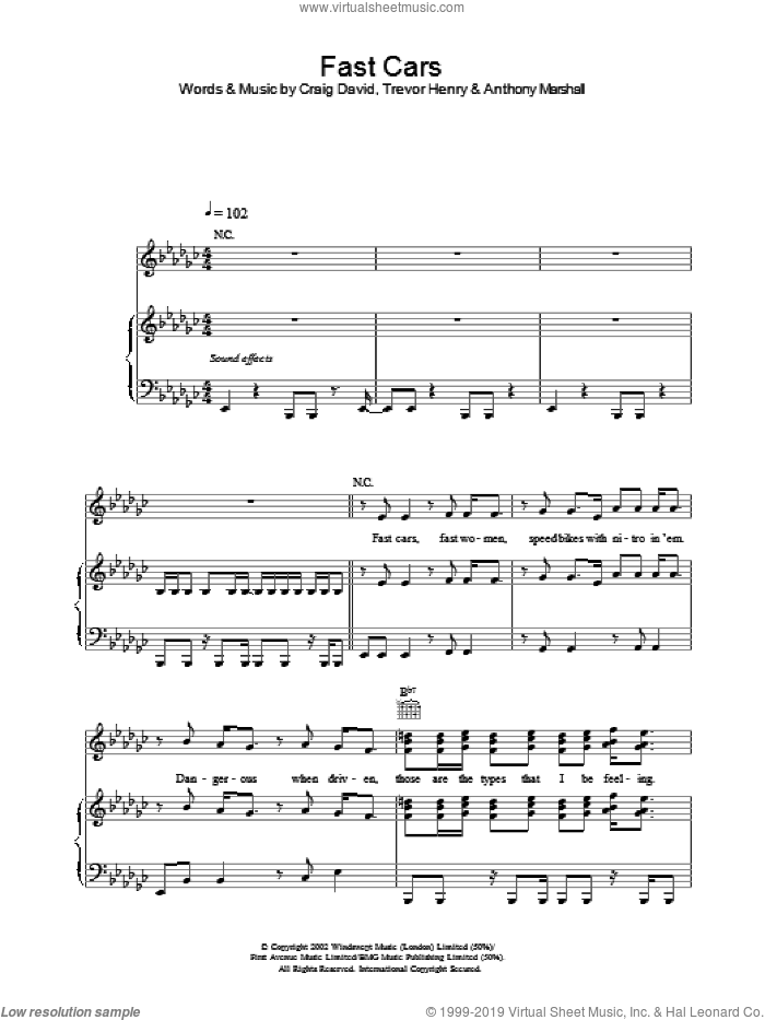 Fast Cars sheet music for voice, piano or guitar by Craig David. Score Image Preview.