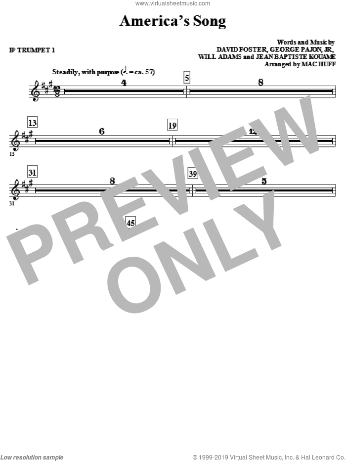 America's Song (complete set of parts) sheet music for orchestra/band by David Foster, George Pajon, Jr., Jean Baptiste, Will Adams, Mac Huff and Will.i.am, intermediate skill level