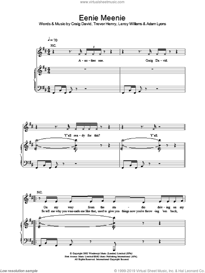 Eenie Meenie sheet music for voice, piano or guitar by Craig David. Score Image Preview.