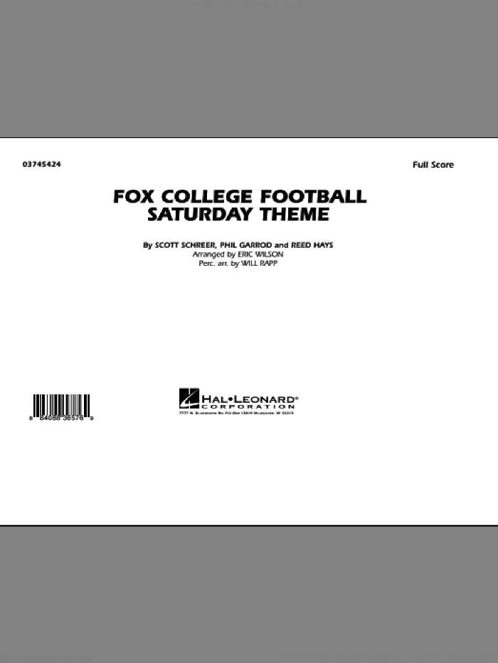 Fox College Football Saturday Theme (COMPLETE) sheet music for marching band by Will Rapp and Eric Wilson, intermediate. Score Image Preview.
