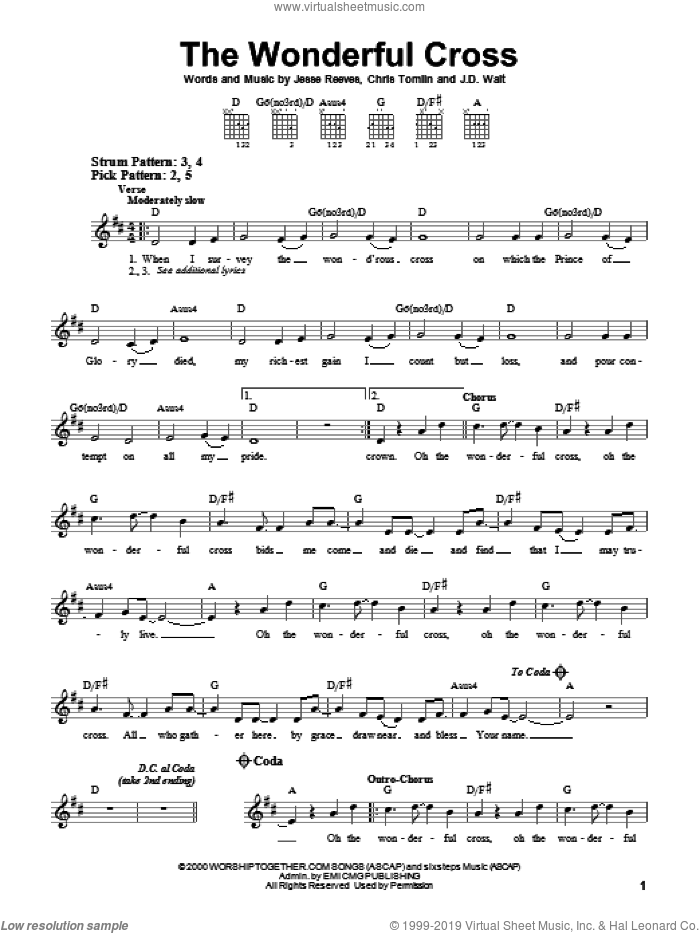 The Wonderful Cross sheet music for guitar solo (chords) by Phillips, Craig & Dean, Chris Tomlin and Jesse Reeves, easy guitar (chords). Score Image Preview.