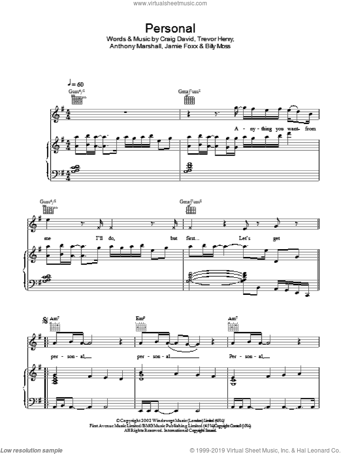 Personal sheet music for voice, piano or guitar by Craig David. Score Image Preview.