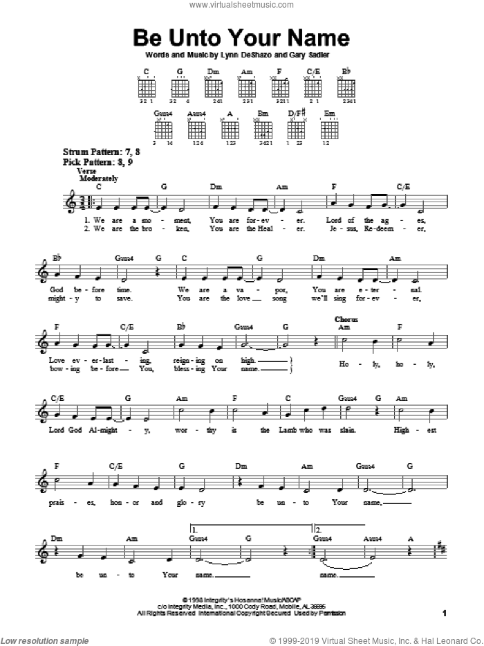 Be Unto Your Name sheet music for guitar solo (chords) by Robin Mark, Gary Sadler and Lynn DeShazo, wedding score, easy guitar (chords). Score Image Preview.